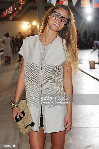 Fiammetta Cicogna attends the Moncler Gamme Bleu fashion show as part of Milan Fashion Week Menswear Spring/Summer 2013 on June 24 2012 in Milan Italy