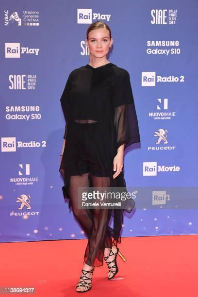 Fiammetta Cicogna walks a red carpet ahead of the 64 David Di Donatello awards ceremony Red Carpet on March 27 2019 in Rome Italy