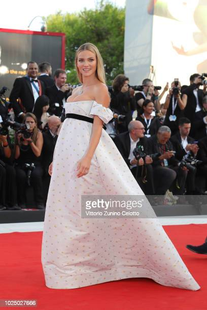 Fiammetta Cicogna walks the red carpet ahead of the opening ceremony and the 'First Man' screening during the 75th Venice Film Festival at Sala...