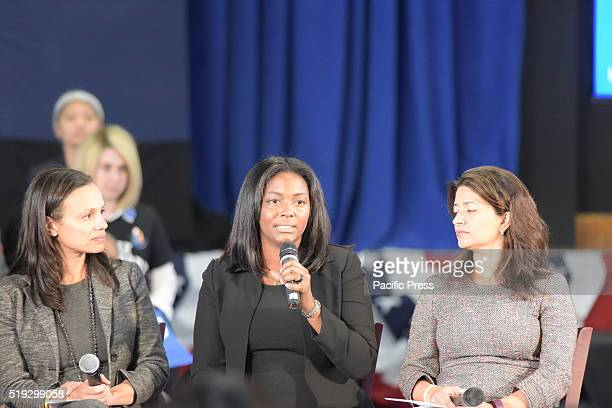 Fiance of slain NY resident Sean Bell Nicole PaultreBell addresses town hall Democratic presidential candidate Hillary Rodham Clinton held a town...