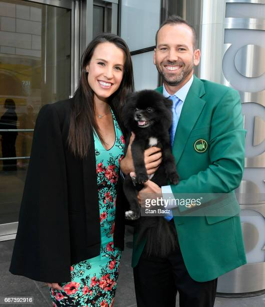 Fiancee Angela Akins and Sergio Garcia visit the Bloomberg building during the Master's winner media tour throughout New York City on April 11 2017...