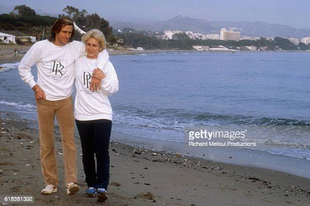 Fiancees and fellow tennis pros Bjorn Borg and Mariana Simionescu walk on the beach in Puente Romano Spain
