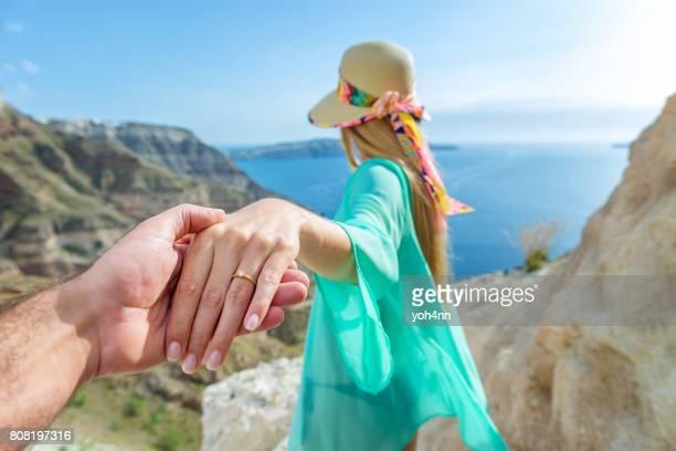 Fiancés in Santorini