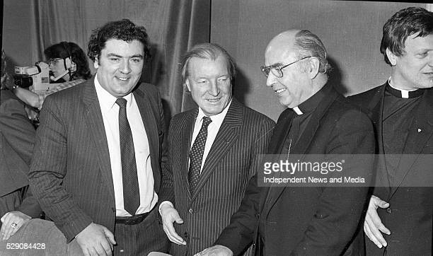 Fianna Fail leader Charlie Haugjhey TD with John Hume and Fr Edward Daly at the New Ireland Forum meeting held in Dublin Castle circa Feb1984
