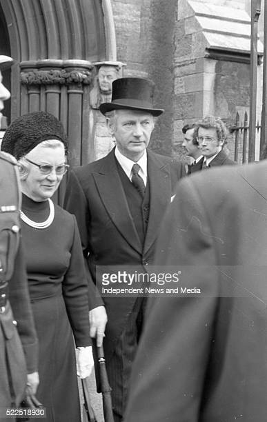 Fianna Fail leader Jack LynchTD and his wife Maureen at the Funeral Service held in St Patrick's Cathedral for the British Ambassador Christopher...