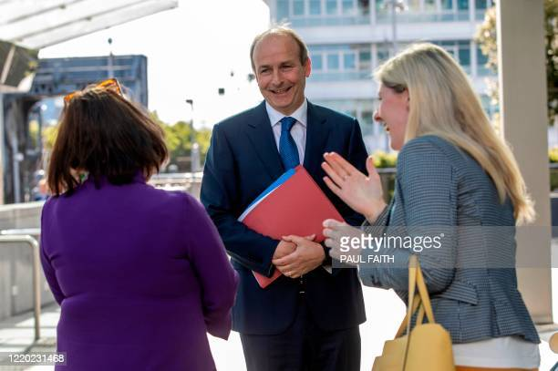 Fianna Fail leader Micheal Martin arrives at the convention centre in Dublin for a parliamentary meeting of his party on June 15 2020 Three Irish...
