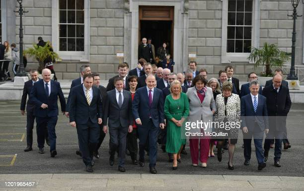 Fianna Fail leader Micheal Martin arrives to speak to the media at the reconvening of the 33rd Dail Eireann following the recent Irish Election on...