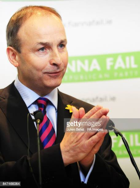 Fianna Fail party leader Micheal Martin speaks during a press conference at the Alexander Hotel in Dublin where he claimed that a vote to expel...