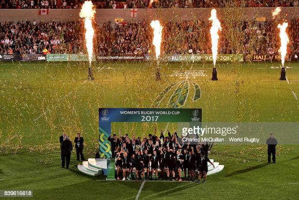 Fiao'o Faamausili of New Zealand lifts the trophy following the Women's Rugby World Cup 2017 Final between England and New Zealand on August 26 2017...