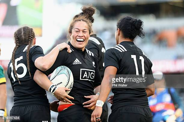 Fiao'o Fa'amausili of the Black Ferns celebrates a try during the international womens Test match between the New Zealand Black Ferns and the...