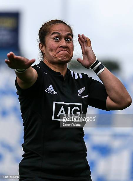 Fiao'o Faamausili of the Black Ferns during the haka during the International Test match between the New Zealand Black Ferns and Australia Wallaroos...