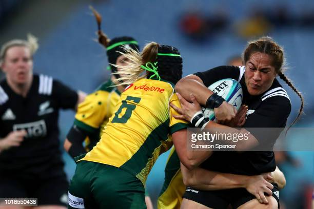 Fiao'o Faamausili of the Black Ferns is tackled during the Women's Rugby International match between the Australian Wallaroos and New Zealand Black...