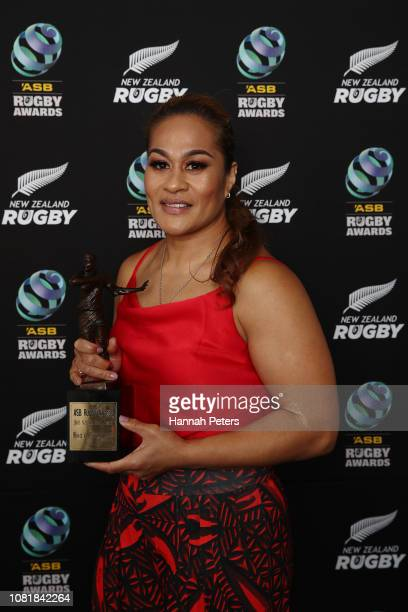 Fiao'o Faamausili poses with the NZR Contribution to Rugby award during the 2018 ASB Rugby Awards at SkyCity Convention Centre on December 13 2018 in...