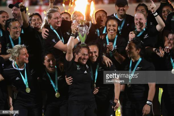 Fiao'o Faamausili the New Zealand Black Ferns captain raises the world cup after their victory during the Women's Rugby World Cup 2017 Final betwen...