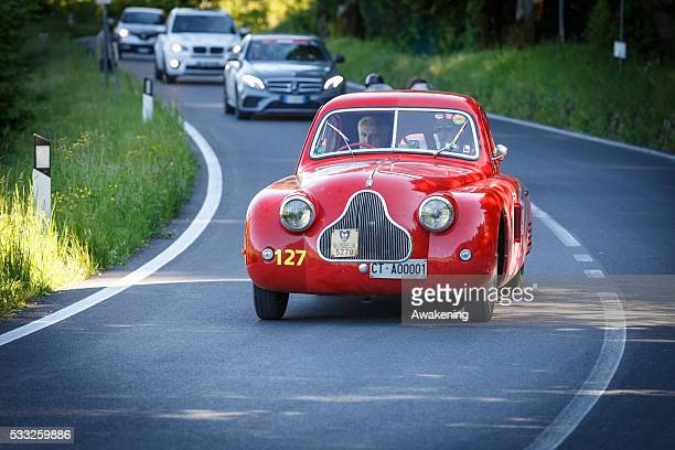 Fiat 1100 MM Berlinetta pass on the road of the Futa Pass towards Bologna during the Millle Miglia on May 21 2016 in Bologna Italy