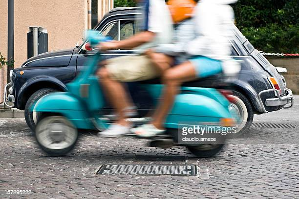 fiat 500 and vespa - moped stock photos and pictures