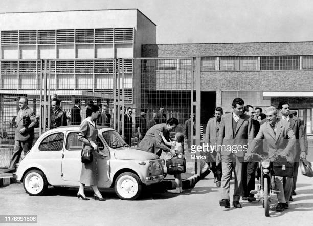 Fiat 500 at the exit of the factory 1957