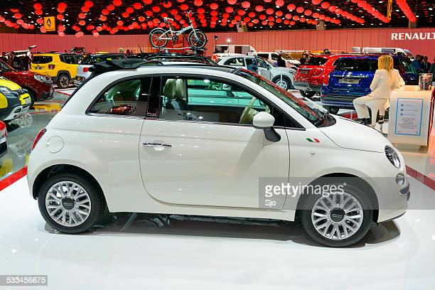 fiat 500 compact hatchback car - compact car stock photos and pictures