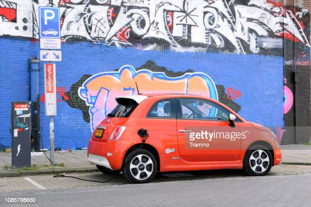 Fiat 500e on the electric charging point