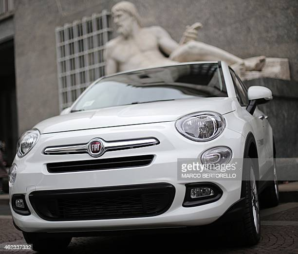 Fiat 500X is pictured in piazza San Carlo on January 22, 2015 in Turin. Fiat-Chrysler said on January 22, 2015 it will add over 1,000 new jobs at its...