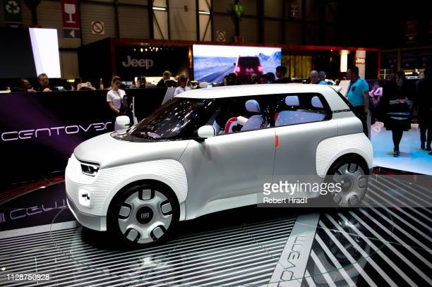 Fiat Centoventi is displayed during the first press day at the 89th Geneva International Motor Show on March 5, 2019 in Geneva, Switzerland.
