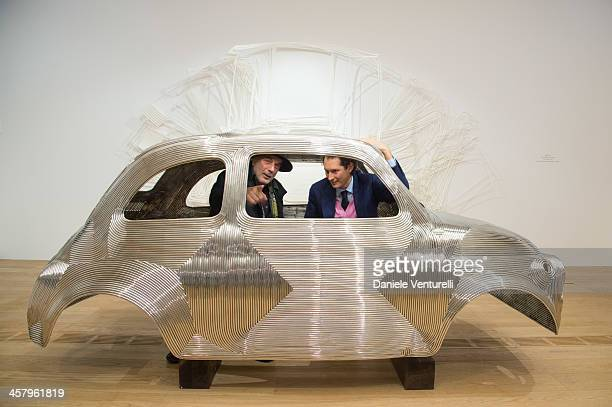 Fiat chairman John Elkann and artist Ron Arad attend Ron Arad 'In reverse' exhibition with Fiat as a main sponsor at Pinacoteca Agnelli on December...