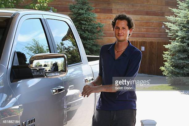 Fiat Chairman John Elkann arrives at the Allen Company Sun Valley Conference in a Ram 1500 truck on July 8 2014 in Sun Valley Idaho Many of the...