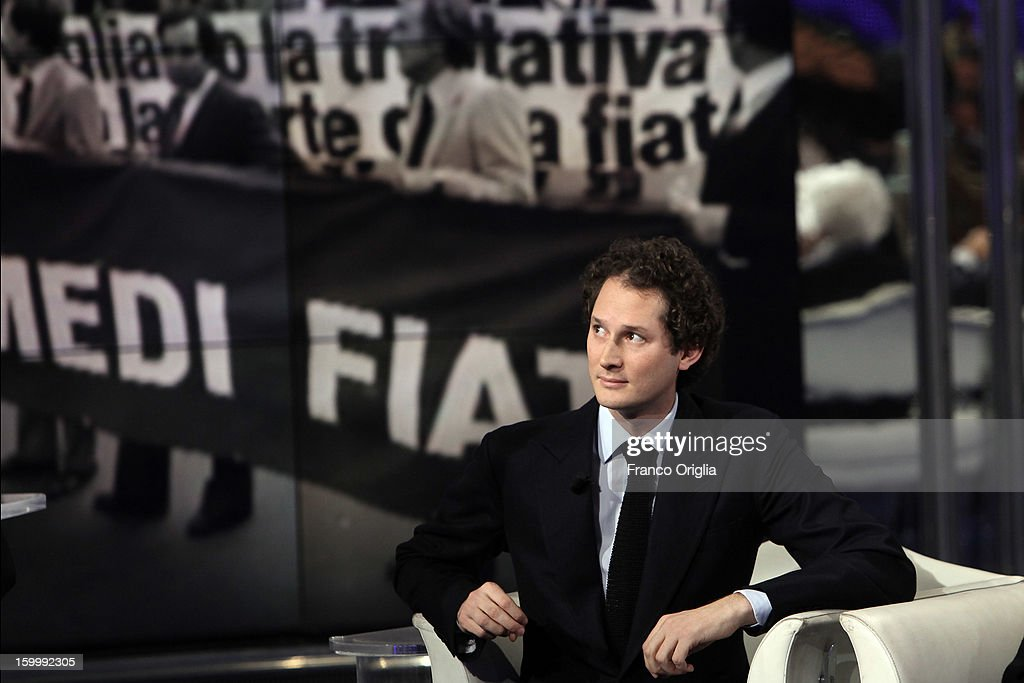 Fiat Chairman John Elkann attends 'Porta A Porta' Italian TV Show dedicated to his grandfather Giovanni Agnelli on January 24, 2013 in Rome, Italy. Today President of Italian Republic Giorgio Napolitano remembered after 10 years the death of Gianni Agnelli - President and principal shareholder of Fiat Group at the Cathedral of Torino.