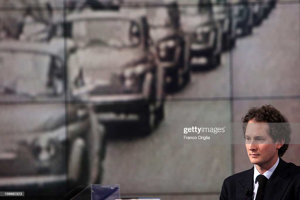 Fiat Chairman John Elkann attends 'Porta A Porta' Italian TV Show dedicated to his grandfather Giovanni Agnelli while a picture showing old Fiat 500 is displayed in the background on January 24, 2013 in Rome, Italy. Today President of Italian Republic Giorgio Napolitano remembered after 10 years the death of Gianni Agnelli - President and principal shareholder of Fiat Group at the Cathedral of Torino.