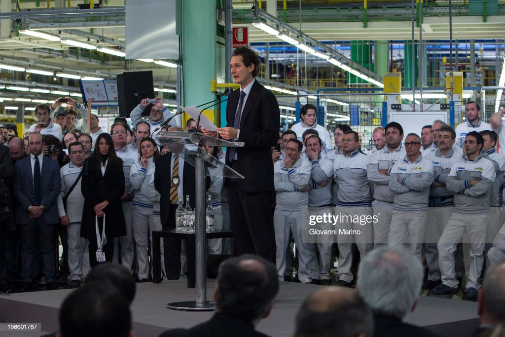 Fiat Chairman John Elkann speaks during a visit to the Fiat plant on December 20, 2012 in Melfi, Italy. The visit comes as the car maker's chief executive, Sergio Marchionne, announced plans to build new sport utility vehicles (SUV) at its Melfi plant by year-end.