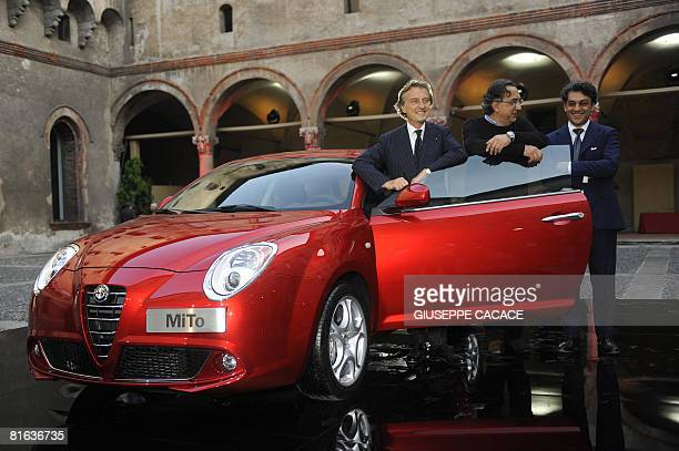 Fiat Chairman Luca Cordero Di Montezemolo Fiat CEO Sergio Marchionne and Alfa Romeo CEO Luca Di Meo pose next to the new Alfa Romeo Mito car inside...