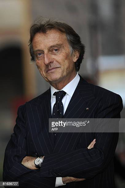 Fiat Chairman Luca Cordero Di Montezemolo is seen at the end of a press conference to present the new Alfa Romeo Mito car at the Sforzesco castle in...
