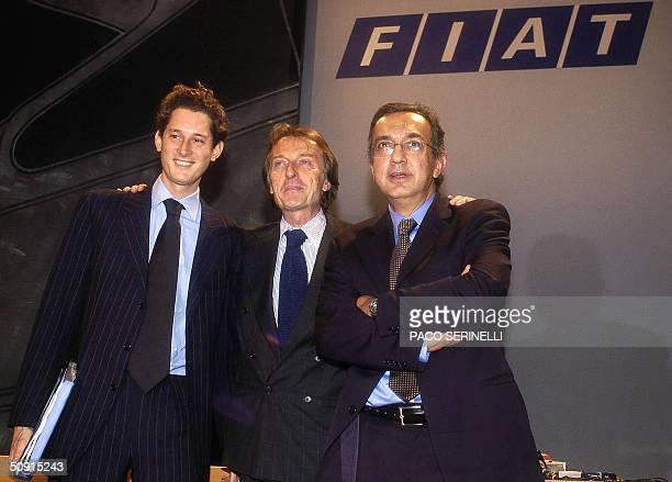 Fiat chairman Luca Cordero di Montezemolo poses with the new chief executive ItalianCanadian Sergio Marchionne and vicechairman John Philip Elkann...