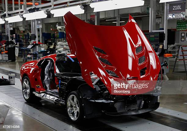 Fiat Chrysler Automobiles NV 2015 Dodge Viper vehicle moves along the production line at the FCA US Conner Avenue assembly plant in Detroit,...