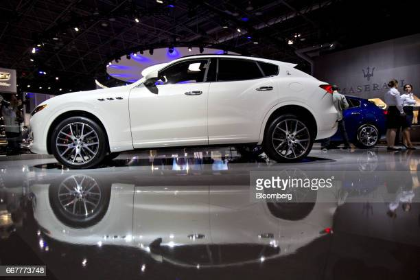 A Fiat Chrysler Automobiles NV Maserati Levante SQ4 vehicle sits on display during the 2017 New York International Auto Show in New York US on...