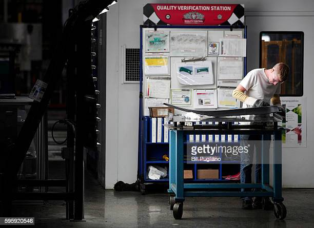 Fiat Chrysler Automobiles worker is shown at the FCA Sterling Stamping Plant August 26 2016 in Sterling Heights Michigan An event was held today at...