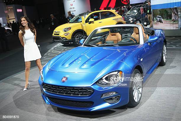 Fiat displays a 124 Spider at the North American International Auto Show on January 11 2016 in Detroit Michigan The show is open to the public from...