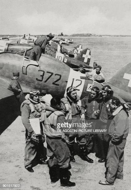 Fiat G 50 fighter plane and a squadron of Italian pilots returning from a mission during the invasion of Yugoslavia World War II from L'Illustrazione...