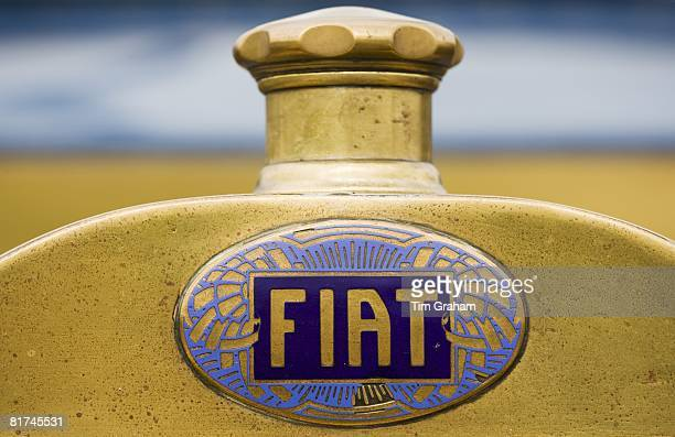 Fiat logo on vintage car Gloucestershire United Kingdom
