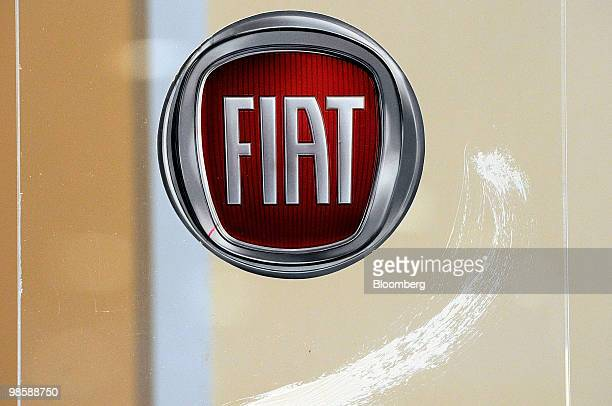 A Fiat SpA logo is seen at the company's Investor's Day meeting in Turin Italy on Wednesday April 21 2010 Fiat SpA the Italian carmaker that acquired...