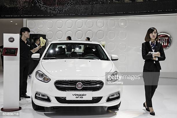 A Fiat SpA Viaggio sedan stands on display at the Beijing International Automotive Exhibition in Beijing China on Tuesday April 26 2016 The show...