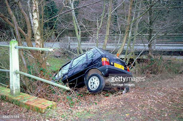 Fiat Uno Crashed into a ditch in the New Forest Hampshire 2000