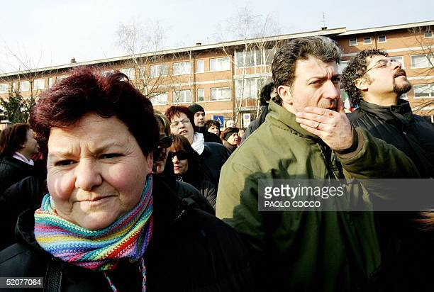 Fiat workers gather to protest in front of Turin's Palavela 28 January 2005. Workers at Fiat's Mirafiori factory went on strike for a second...