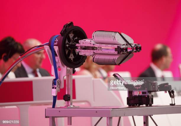 A fiber cable splicing machine sits on display during the Deutsche Telekom AG shareholders' meeting in Bonn Germany on Thursday May 17 2018 Deutsche...