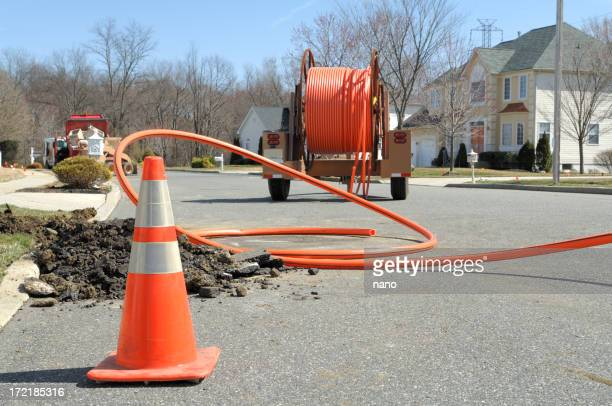 fiber optic install - fibre optic stock pictures, royalty-free photos & images