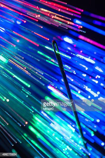 Fiber optic passing through eye of needle