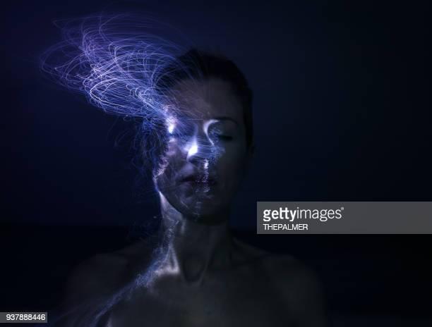 fiber optics female portrait - hologram stock photos and pictures
