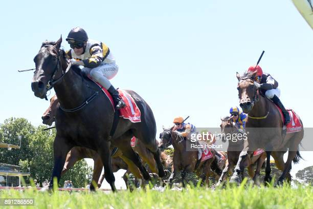 Fica Gal ridden by Brad Rawiller wins the The Big Screen Company Hcp at Mornington Racecourse on December 13 2017 in Mornington Australia