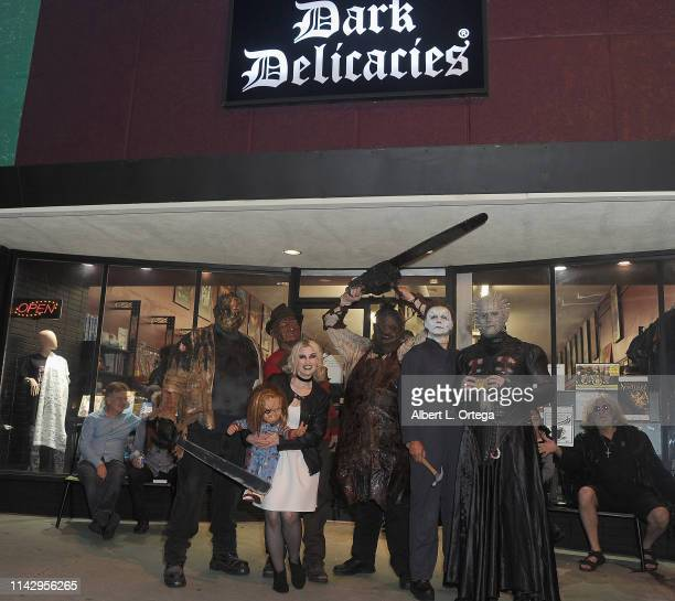 Fictional characters Jason Voorhees Freddy Kruger Tiffany Leatherface Michael Myer and Pinhead attend the Dark Delicacies Grand Opening Party held at...