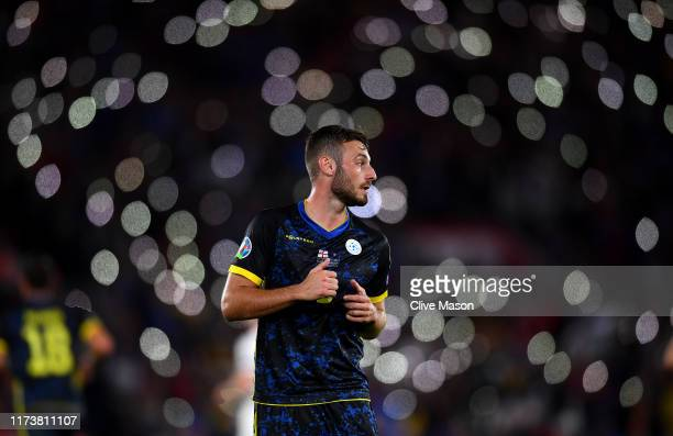 Fidan Aliti of Kosovo looks on during the UEFA Euro 2020 qualifier match between England and Kosovo at St Mary's Stadium on September 10 2019 in...